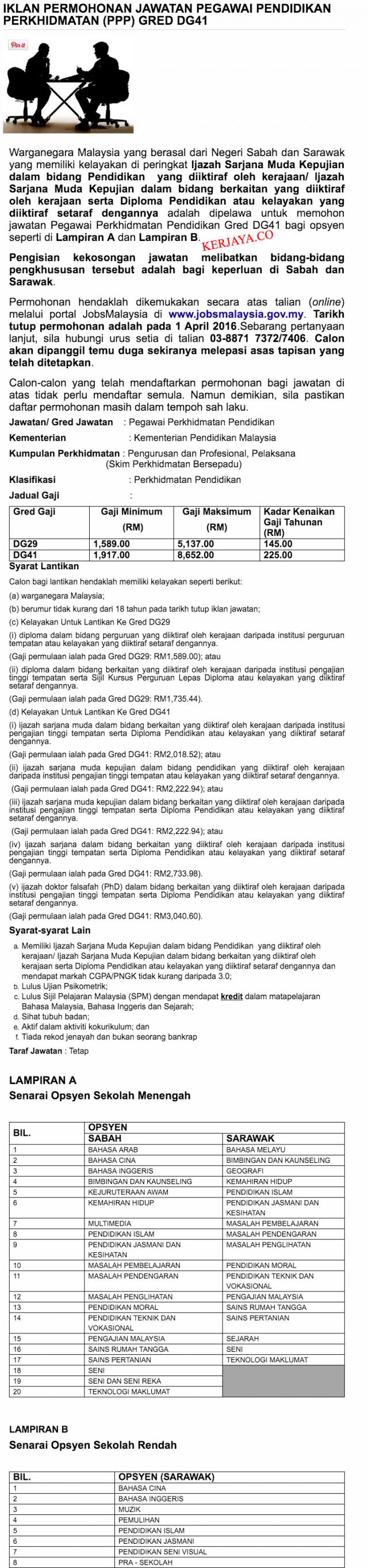 Suruhanjaya Perkhidmatan Pelajaran Malaysia IKLAN PERMOHONAN JAWATAN PEGAWAI PENDIDIKAN PERKHIDMATAN PPP GRED DG41