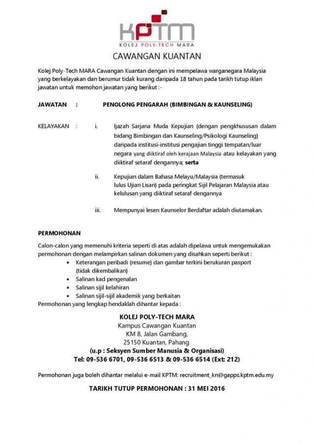Kerja Kolej Poly-Tech Mara (KPTM)