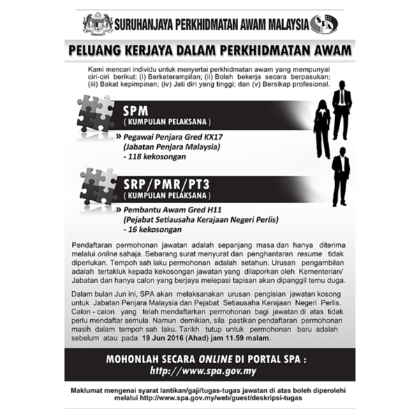 Iklan Jawatan Kosong Suruhanjaya Perkhidmatan Awam Malaysia (SPA)