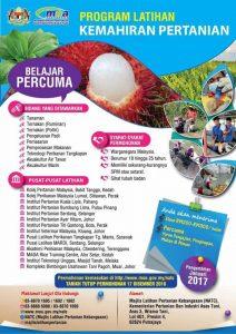 iklan permohonan Program Latihan Kemahiran Pertanian Ambilan 2017 yang dikeluarkan oleh Kementerian Pertanian & Industri Asas Tani Malaysia