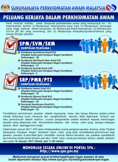 102 Kekosongan Jawatan Kerajaan ~ Kelayakan Mohon SRP:PMR:PT3