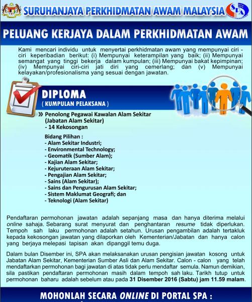 Iklan Jawatan Kosong Suruhanjaya Perkhidmatan Awam (SPA Malaysia)
