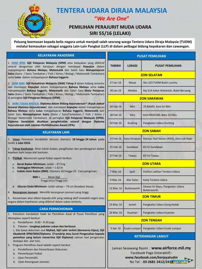 Iklan Temuduga Tentera Udara Diraja Malaysia (TUDM) 2016