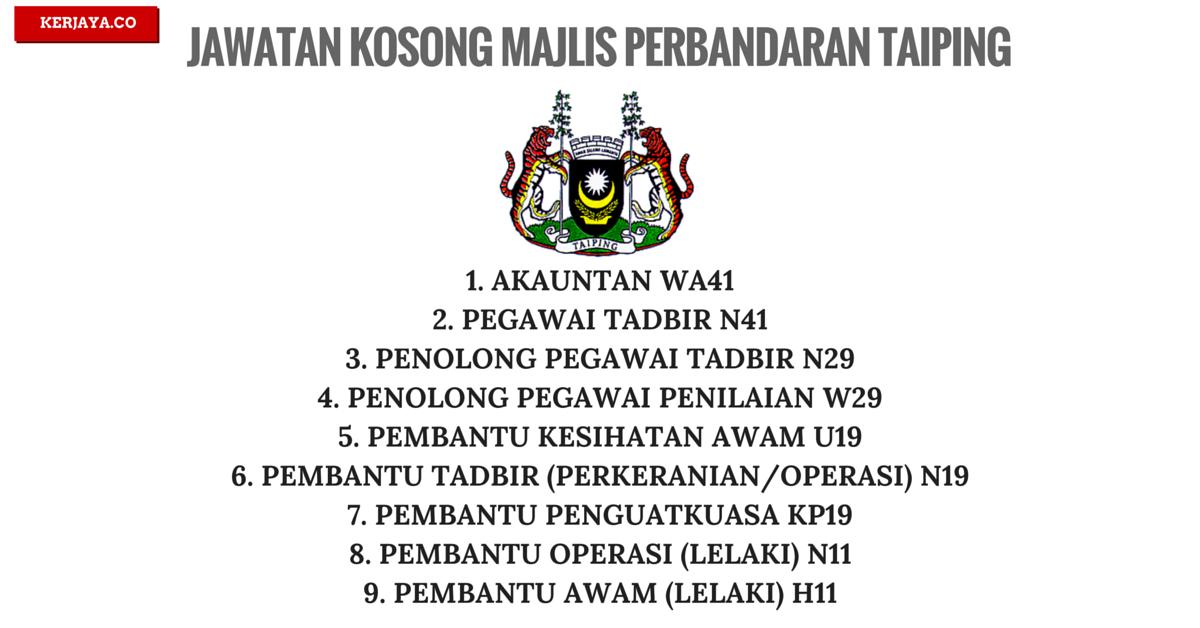 Jawatan Kosong Terkini Majlis Perbandaran Taiping Mpt Kerja Kosong Kerajaan Swasta