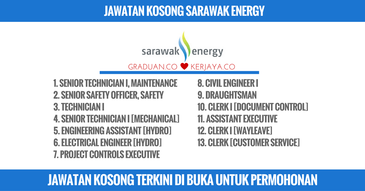 Jawatan Kosong Sarawak Energy Kerja Kosong Kerajaan