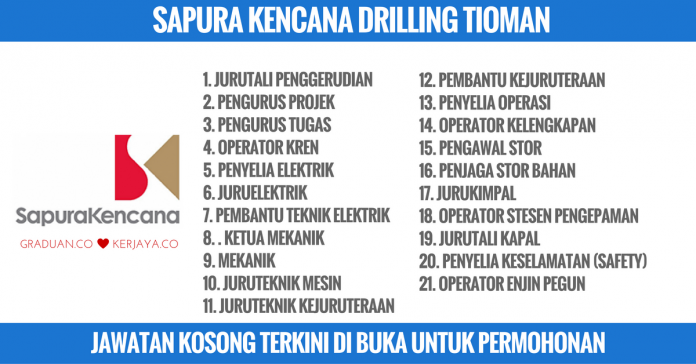 Jawatan Kosong Terkini SapuraKencana Drilling Tioman Sdn Bhd