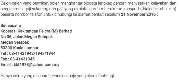 Jawatan Kosong Koperasi Felcra M Berhad 21 November 2016 Kerja Kosong Kerajaan