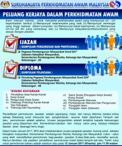 Iklan Jawatan Kosong Jabatan Kebajikan Masyarakat (JKM)