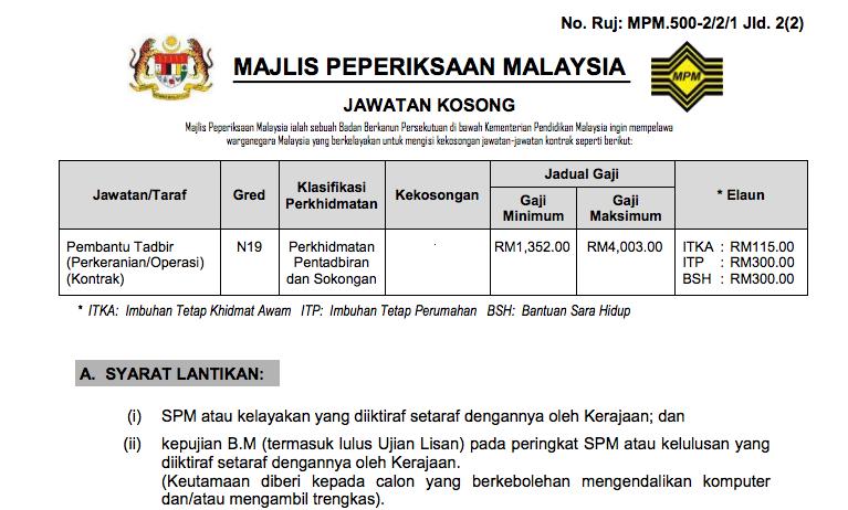 Jawatan Kosong Terkini Pembantu Tadbir N19 Majlis Peperiksaan Malaysia Mpm Kerja Kosong Kerajaan Swasta