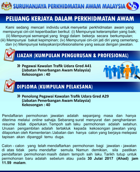 Iklan Jawatan Kosong Pegawai Kawalan Trafik Udara Kerja Kosong Kerajaan