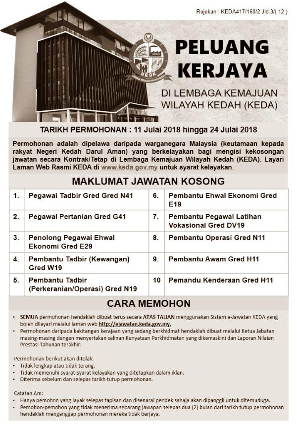 Iklan Jawatan Kosong Lembaga Kemajuan Wilayah Kedah Keda Kerja Kosong Kerajaan