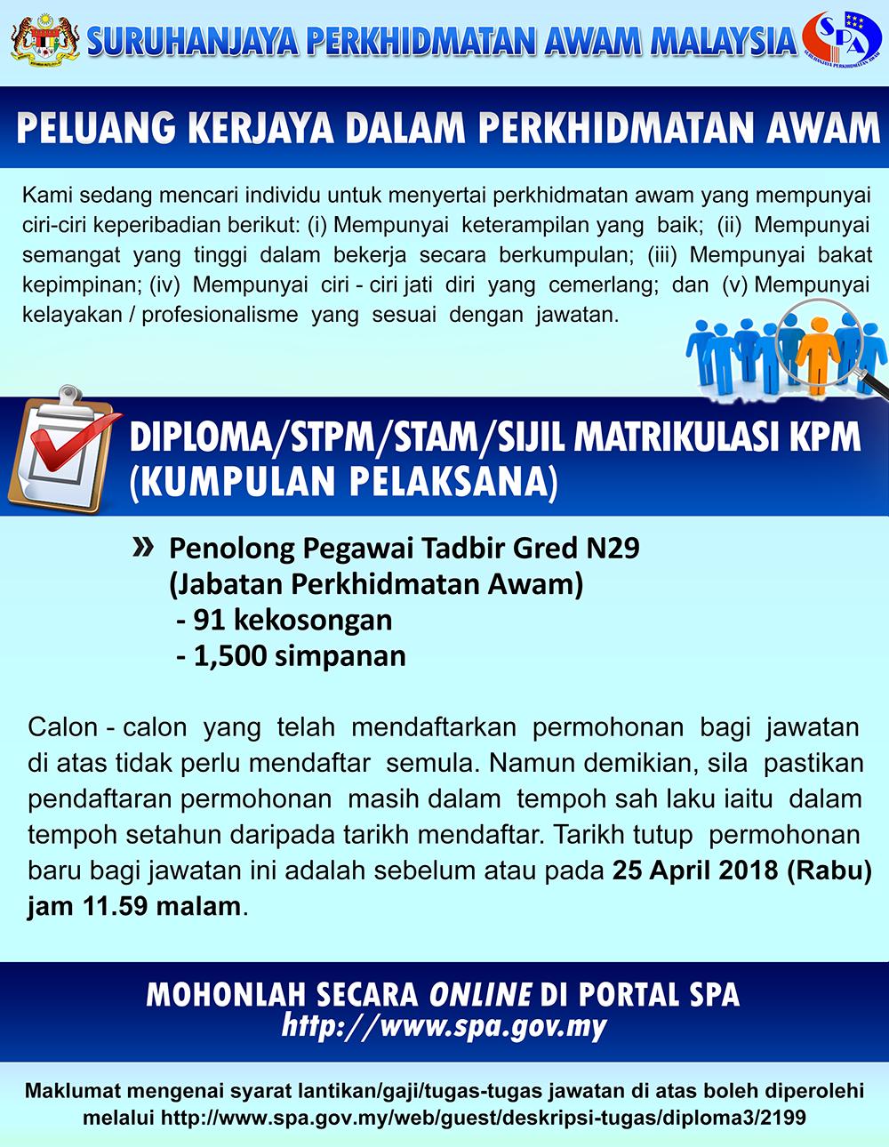Permohonan Jawatan Penolong Pegawai Tadbir N29 JPA