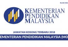 Permohonan Jawatan Kosong Kementerian Pendidikan Malaysia (MOE) Di Buka