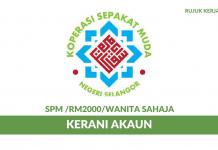 Koperasi Sepakat Muda Negeri Selangor (KOSEDAR) ~ Kerani Akaun