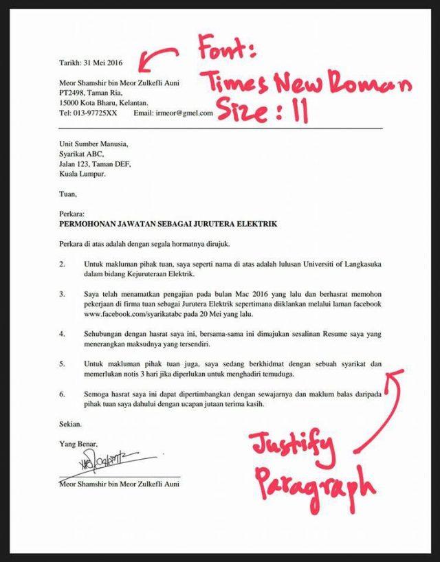 cover letter resume bahasa melayu