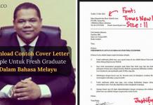 Download Contoh Cover Letter Simple Untuk Fresh Graduate Dalam Bahasa Melayu