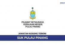 Permohonan Jawatan Kosong Terkini Pejabat Setiausaha Kerajaan Negeri Pulau Pinang