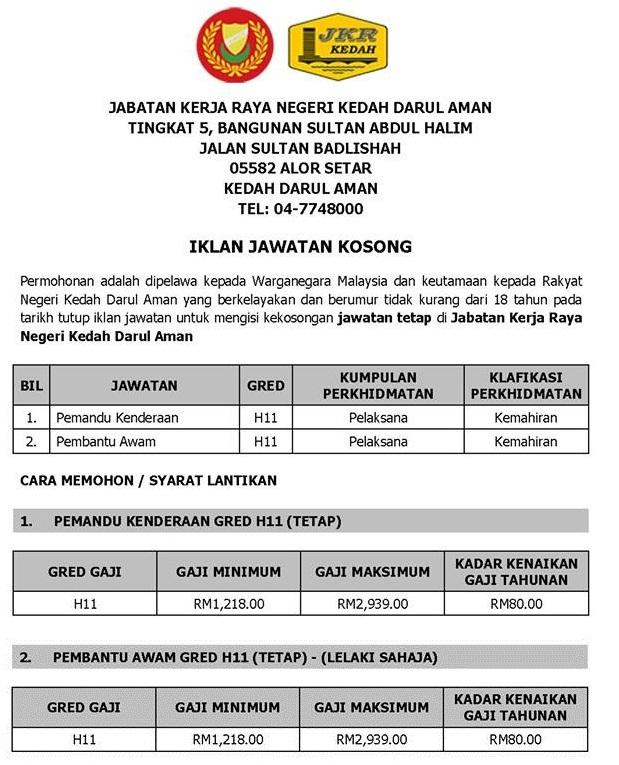Job Vacancy Jabatan Kerja Raya Malaysia Jkr Kerja Kosong Kerajaan