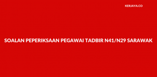Contoh Soalan Pegawai Tadbir N41/N29 Sarawak (REQT)