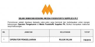 Permohonan Jawatan Kosong Terkini Meida Foodstuffs Supplies _ Operator Pengeluaran
