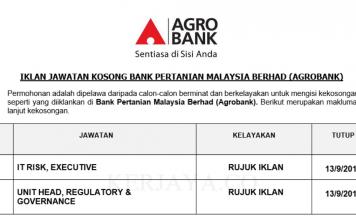 Bank Pertanian Malaysia Berhad (Agrobank) ~ Eksekutif & Pelbagai Jawatan