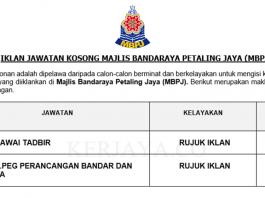 Majlis Bandaraya Petaling Jaya (MBPJ) ~ Pegawai Tadbir & Pen.peg Perancang Bandar dan Desa