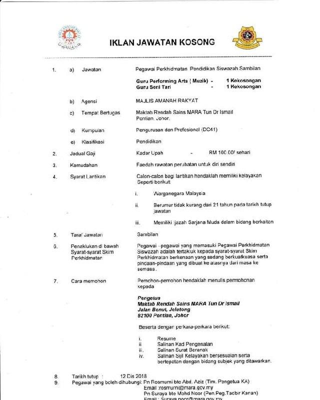 Permohonan Jawatan Guru MRSM Mara (Maktab Rendah Sains Mara) Di Buka