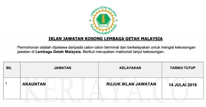 Permohonan Jawatan Kosong Terkini Lembaga Getah Malaysia