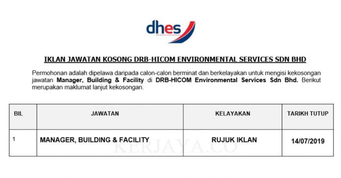 DRB-HICOM Environmental Services ~ Manager, Building & Facility