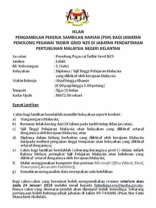 Iklan Jawatan Kosong Jabatan Pendaftaran Pertubuhan Malaysia Negeri Kelantan