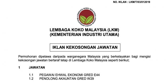 Peluang Kerja Kosong Lembaga Koko Malaysia