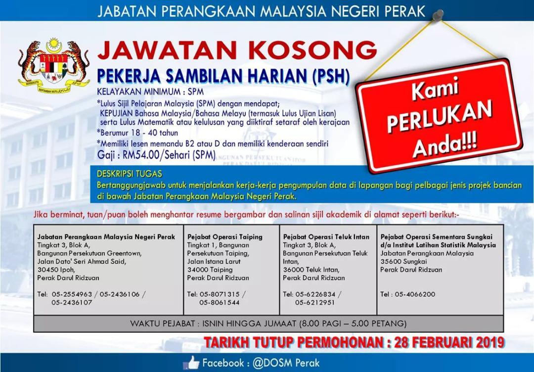 Iklan Jawatan Kosong Jabatan Perangkaan Malaysia Negeri Perak