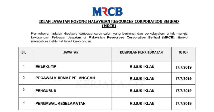 Malaysia Resources Corporation Berhad (MRCB) ~ Pelbagai Kekosongan Jawatan