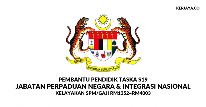 Jawatan Kosong Pembantu Pendidik Taska S19 Jabatan Perpaduan Negara dan Integrasi Nasional