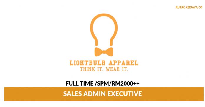 LightBulb Apparel ~ Sales Admin Executive (Mengurusakan Hal Berkaitan Pentadbiran Dan Jualan)