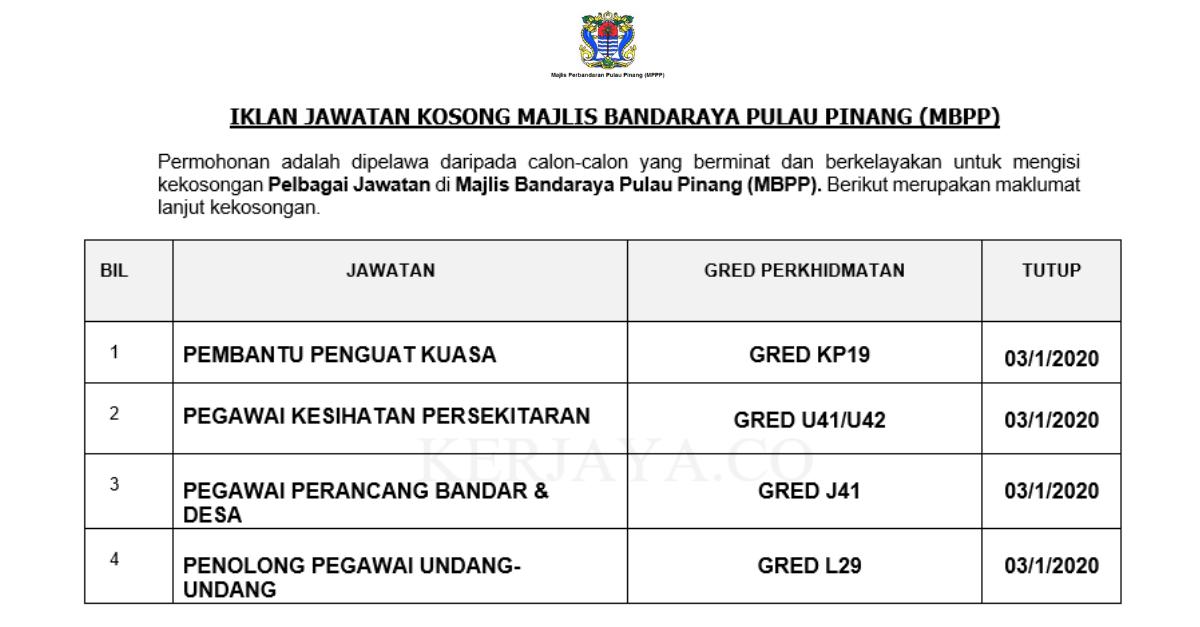 Majlis Bandaraya Pulau Pinang ~ Pembantu Penguatkuasa, Pegawai Kesihatan Persekitaran, Pegawai Perancang Bandar & Pelbagai Jawatan Lain