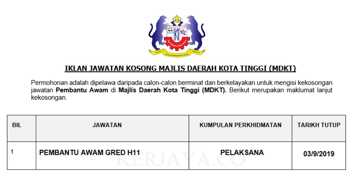 Jawatan Kosong Terkini Majlis Daerah Kota Tinggi Pembantu Awam Kerja Kosong Kerajaan Swasta