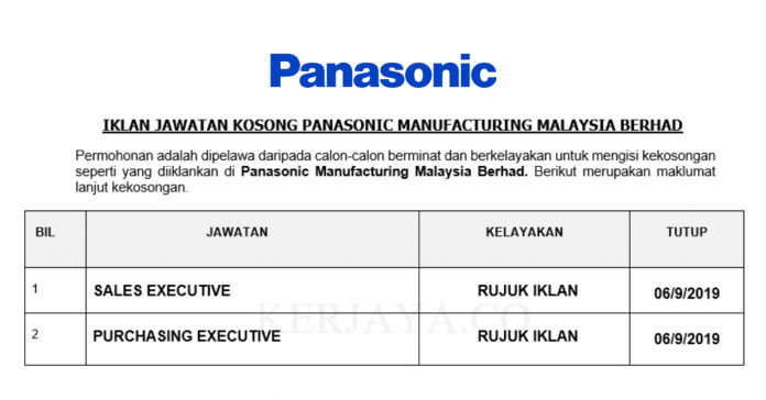 Panasonic Industrial Device Sales ~ Sales & Purchasing Executive