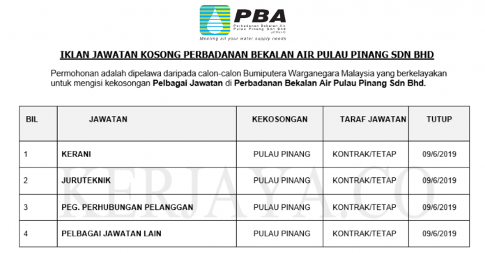 Perbadanan Bekalan Air Pulau Pinang ~ Kerani, Juruteknik, & DLL
