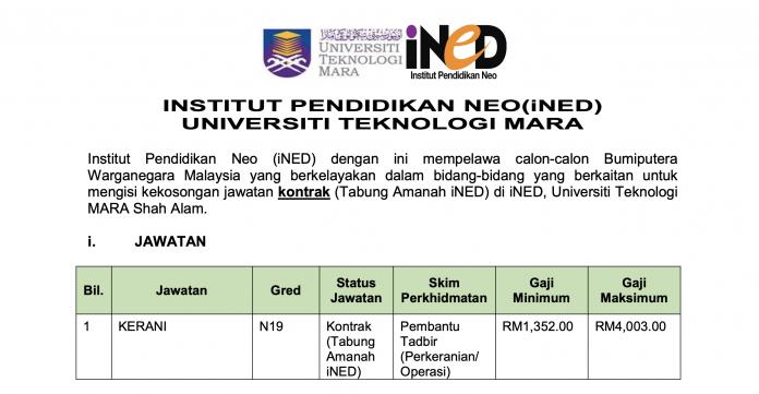Kerani N19 di Institut Pendidikan Neo (iNED) UITM