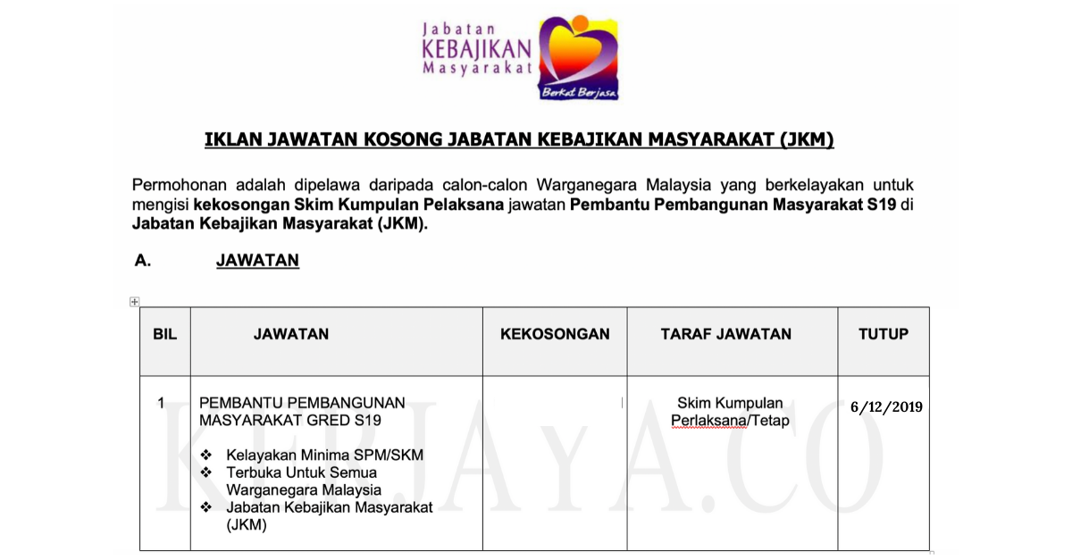 Jawatan Kosong Terkini Jabatan Kebajikan Masyarakat Jkm Pembantu Pembangunan Masyarakat S19 Kerja Kosong Kerajaan Swasta