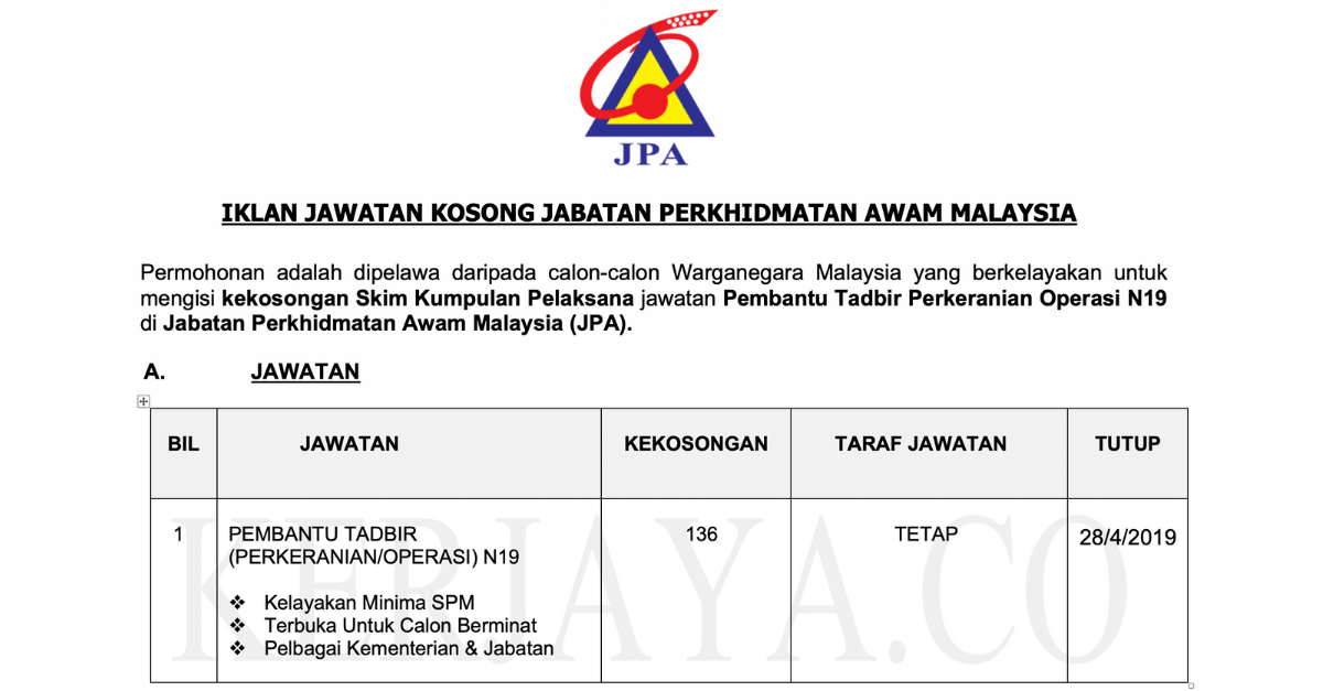 Jawatan Kosong Terkini Jpa Jabatan Perkhidmatan Awam Malaysia Kerja Kosong Kerajaan Swasta