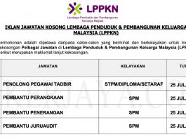 Lembaga Penduduk & Pembangunan Keluarga Malaysia (LPPKN) ~ Kekosongan Jawatan Pentadbiran, Pengurusan & Sokongan