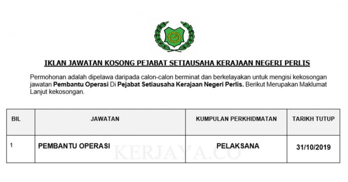 Pejabat Setiausaha Kerajaan Negeri Perlis (Suk Perlis) ~ Pembantu Operasi