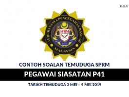 Contoh Soalan Temuduga Pegawai Siasatan SPRM P41
