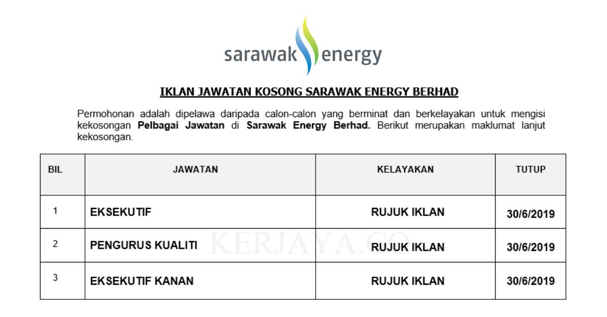 Sarawak Energy Berhad Kerja Kosong Kerajaan