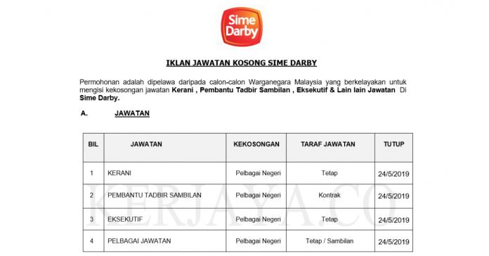 Kerani , Pembantu Tadbir Sambilan , Eksekutif & Pelbagai Jawatan Sime Darby Kini Di Buka