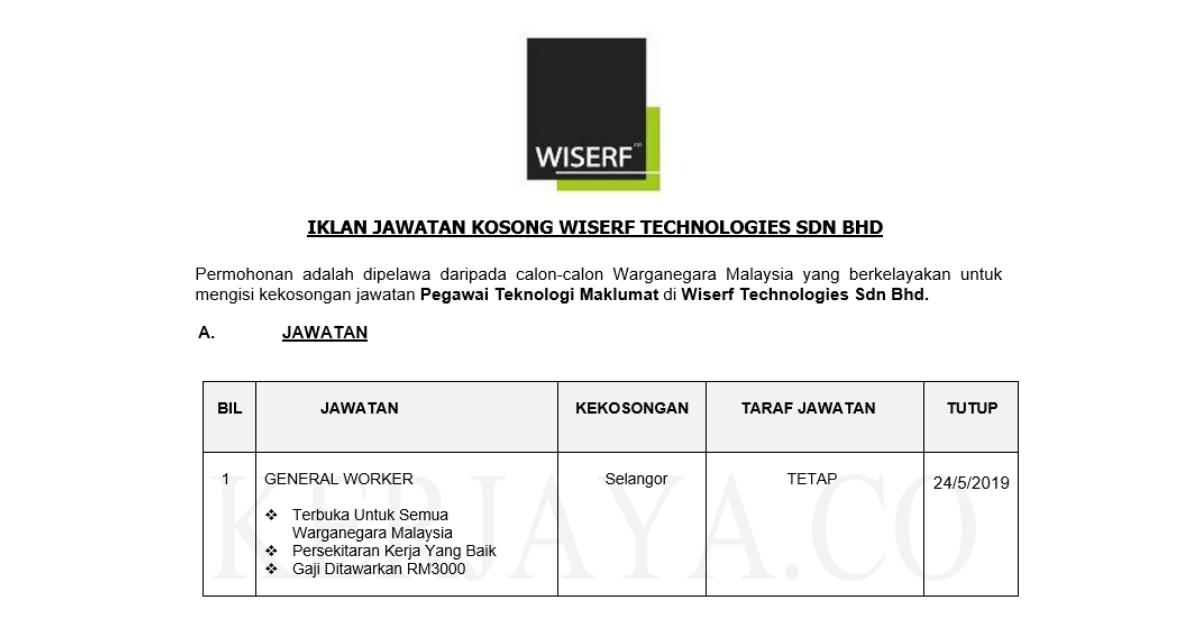 Wiserf Technologies Sdn Bhd Kerja Kosong Kerajaan