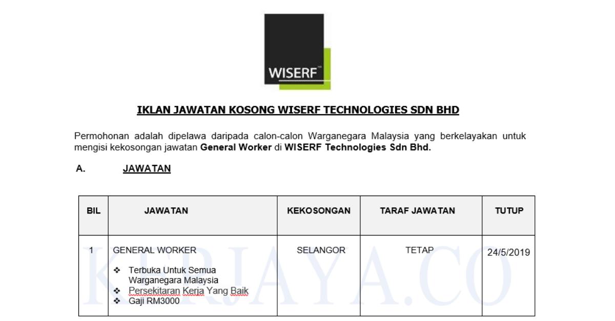 Wiserf Technologies Sdn Bhd 1 Kerja Kosong Kerajaan