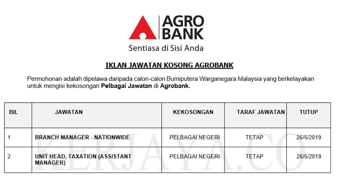 Jawatan Kosong Terkini Agrobank Branch Manager Unit Head Taxation Kerja Kosong Kerajaan Swasta